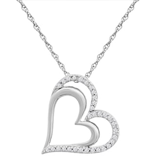 1/4 Carat Diamond Double Floating Heart Necklace In Sterling Silver, 18 Inches