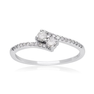 2Be Bonded Together, 1/4ct Two Diamond Plus Pave Ring In White Gold (I-J, I1-I2)