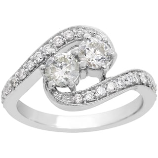 1ct Two Diamond Plus Milgrain Prong Pave Ring In 14K White Gold (I-J, I1-I2)