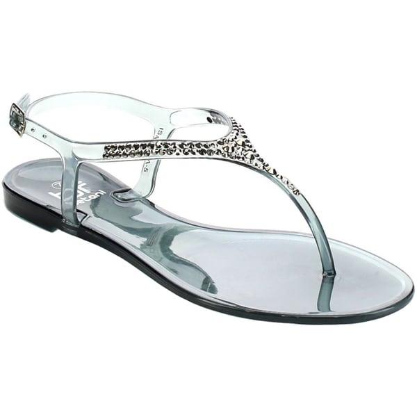 Beston FA72 Women's T-strap Rhinestone Slingback Thong Flat Sandals 17227515