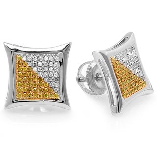 Sterling Silver 3/8ct TDW White and Yellow Diamond Micro Pave Kite Shape Stud Earrings (I-J, I2-I3 )