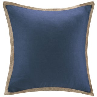 Madison Park Feather Down Filled Linen with Jute Trim 20-Inch Square Pillow
