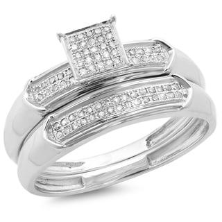 Sterling Silver 1/4ct TDW Diamond Bridal Engagement Ring With Matching Wedding Band Set (I-J, I2-I3)
