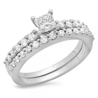 14k White Gold 1ct TDW White Diamond Bridal Set (H-I, I1-I2)