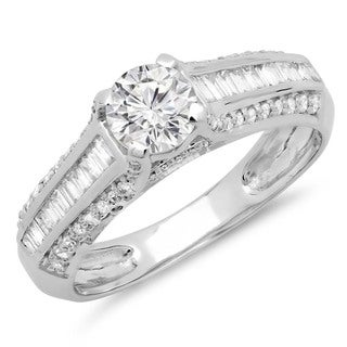 14k White Gold 1 1/5ct TDW Diamond Vintage Style Solitaire Bridal Engagement Ring (H-I, I1-I2)