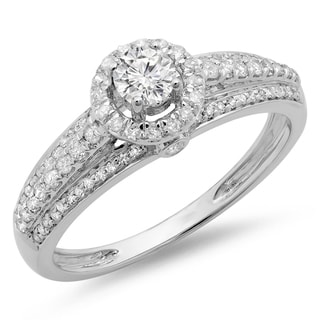 14k White Gold 3/4ct TDW Diamond Bridal Halo Style Engagement Ring (H-I, I1-I2)