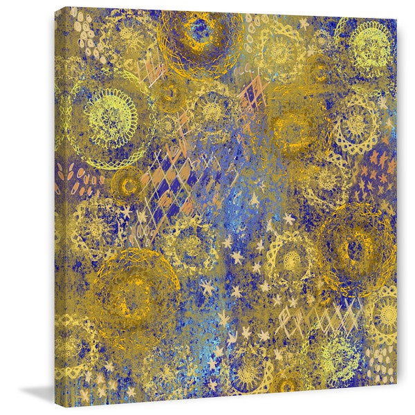 "Marmont Hill - ""Golden Star Wallpaper"" Painting Print on Canvas"