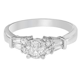 14k White Gold 1ct TDW Round Princess and Pie Diamond Ring (H-I, SI1-SI2)