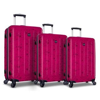 Visionair Pink Water Drop 3-piece Hardside Spinner Luggage Set