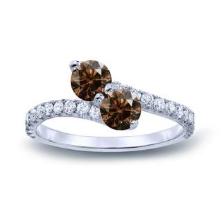 Auriya 14k Gold 2ct TDW Round Cut Brown Diamond 3Prong 2-Stone Ring (Brown, I1-I2)