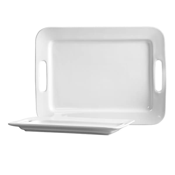 Blanc de Blanc Serving Trays with Handles (Set of Two)