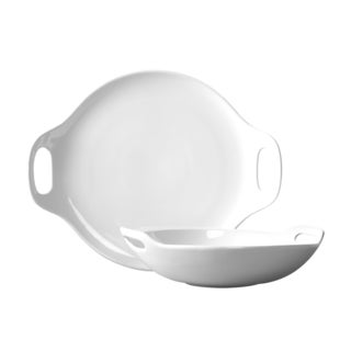 Blanc de Blanc 2-piece Bowl and Platter Set with Handles