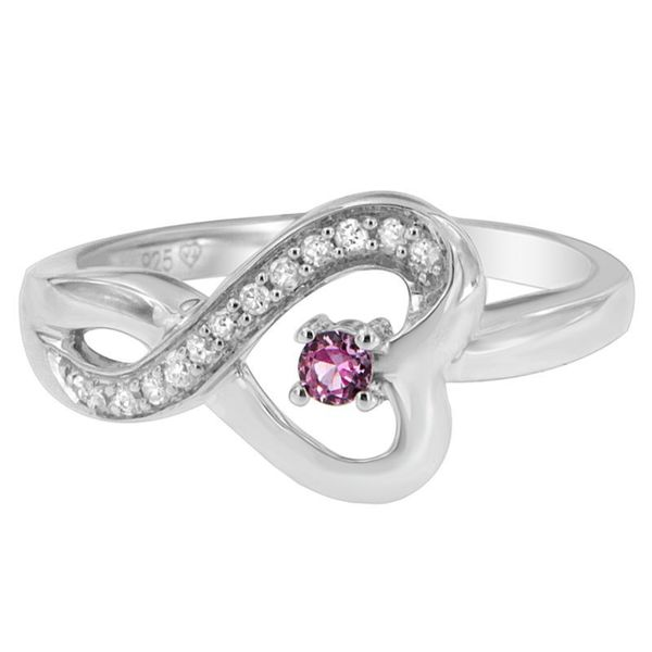 Sterling Silver 1/5ct TDW Round Diamond with Pink Stone Heart Ring (H-I, SI1-SI2)