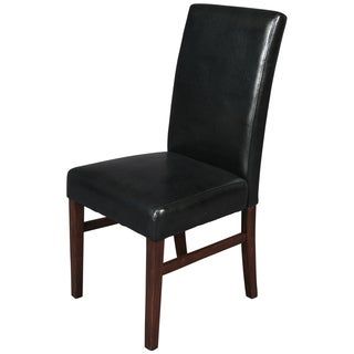 Porter Adrian Black Faux Leather Parsons Dining Chairs (Set of 2)