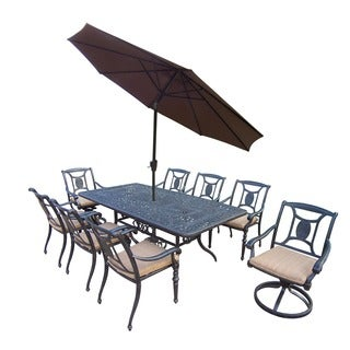 Sunbrella Aluminum 11-piece Dining Set with Table 6 Stackable Chairs 2 Swivel Rockers Cushions Umbrella and Stand