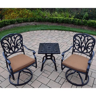 Sunbrella Aluminum Swivel Rocker 3-piece Set with 2 Sunbrella Cushioned Swivel Rockers and 21-inch Side Table
