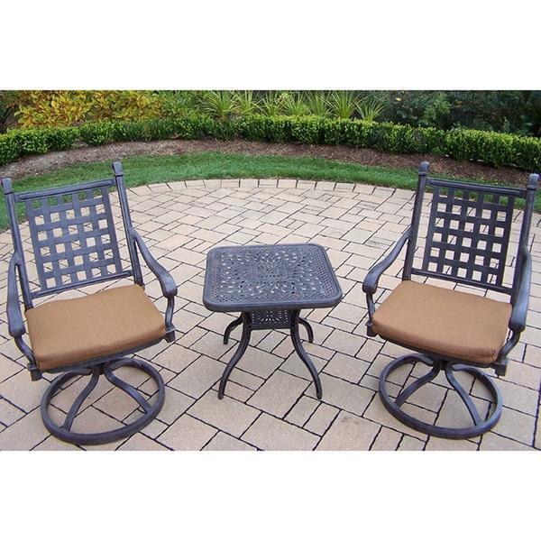 Sunbrella Aluminum Swivel Rocker 3-piece Set with 2 Swivel Rockers Sunbrella Cushions and a 24-inch Side Table