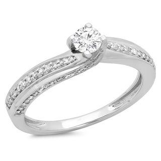 14k White Gold 1/2ct TDW White Diamond Swirl Solitaire Engagement Ring (H-I, I1-I2)