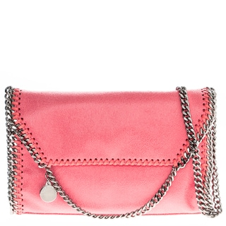 Stella McCartney Falabella Pink Faux Leather Foldover Clutch Handbag