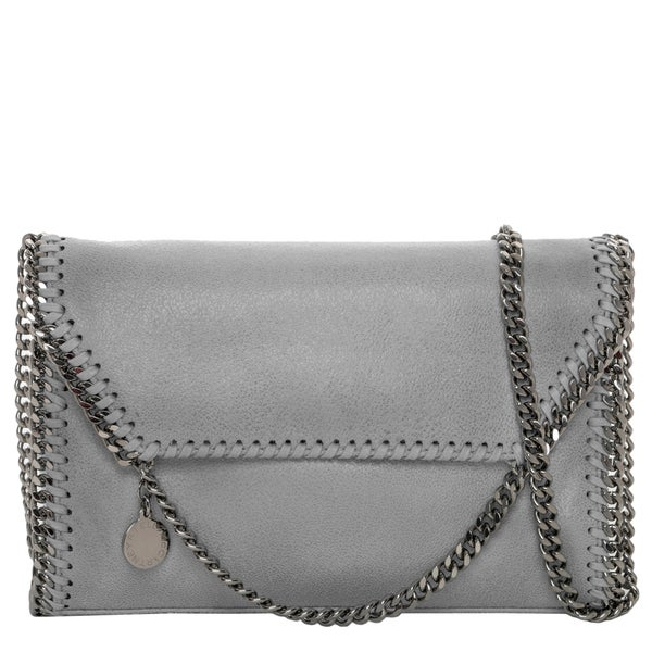 Stella McCartney Falabella Grey Faux Leather Foldover Clutch Handbag
