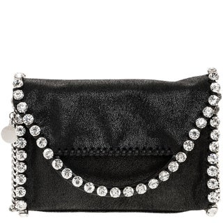Stella McCartney Falabella Shaggy Deer Rhinestone Trim Crossbody Handbag