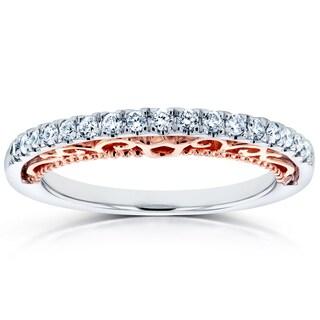 Annello 14k Two Tone Rose Gold Profile 1/6ct TDW Diamond Ring (H-I, I1-I2)