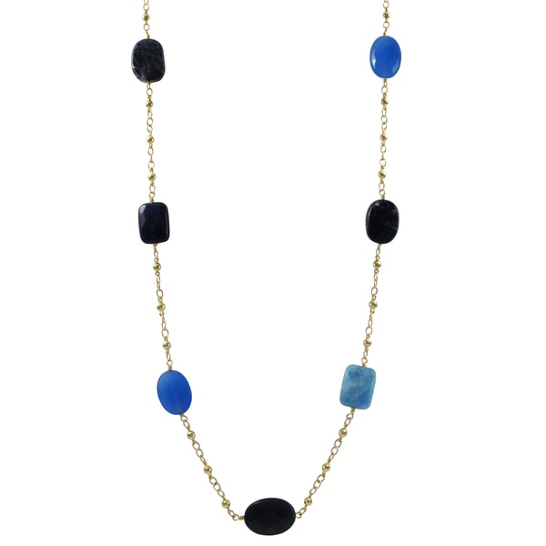 Gold Finish Blue Sodalite and Jade Semi-precious Gemstone Necklace