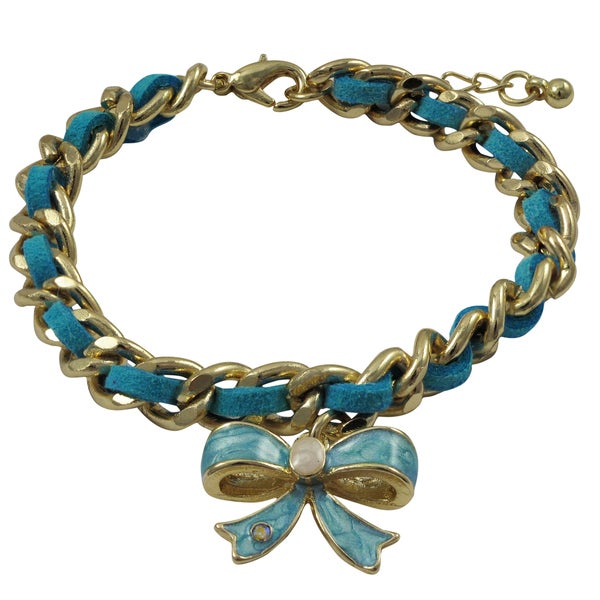 Gold Finish Suede Crystal and Marbled Enamel Bow Charm Bracelet