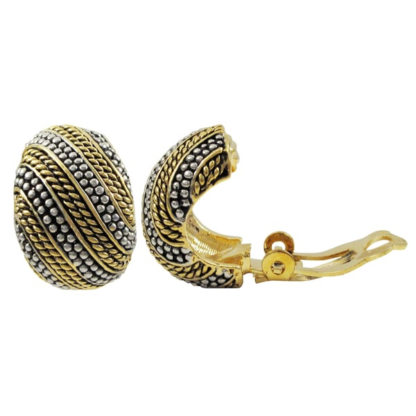 Two-tone Gold Finish Textured Curve Huggie Clip-on Earrings
