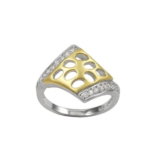 Sterling Silver Two-tone Cubic Zirconia Cutout Right-hand Ring