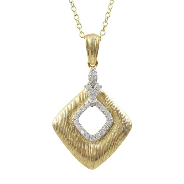 Two-tone Sterling Silver Cubic Zirconia Diamond Shape Pendant Necklace