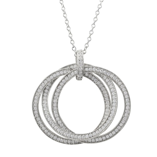 Sterling Silver Cubic Zirconia Circles Pendant Necklace