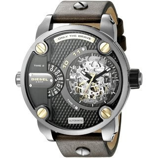 Diesel Men's DZ7364 Daddies Series Automatic Dual Zone Black Skeleton Dial Olive Leather Watch