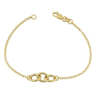 Fremada 14k Yellow Gold Triple Oval Rolo Link Bracelet (7 inches)