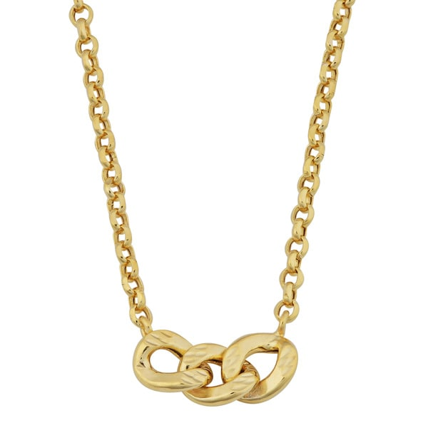 Fremada 14k Yellow Gold Triple Curb on Rolo Link Adjustable Length Necklace