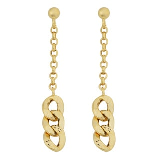 Fremada 14k Yellow Gold Triple Curb Dangle Earrings