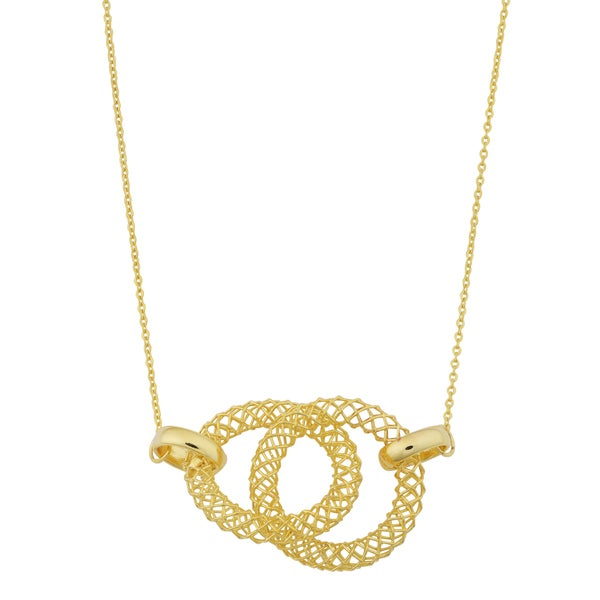 Fremada 14k Yellow Gold Mesh Double Circle Necklace (18 inches)