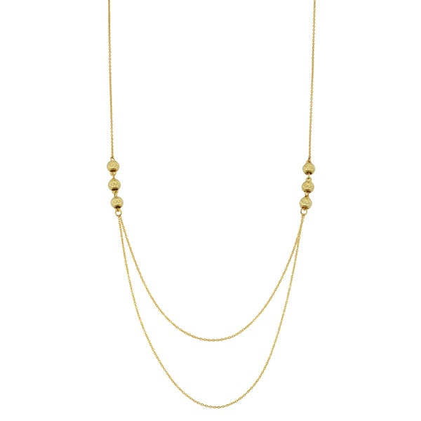 Fremada 14k Yellow Gold Diamond-cut Bead Layer Necklace (18 inches)