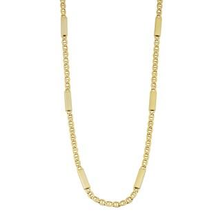 Fremada 14k Yellow Gold High Polish Bar Station Mariner Link Necklace (18 inches)