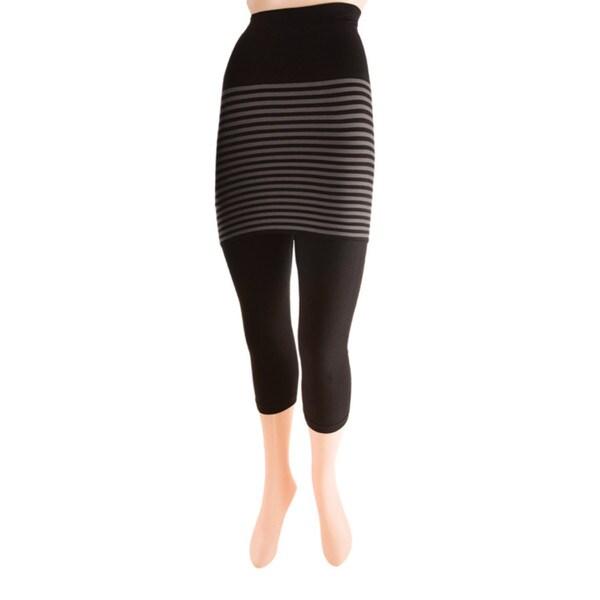 Memoi Women's Stripes/ Flatknit Capri Skegging 17231796