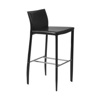 Shen-B Black Leather Bar Stool (Set of 2)