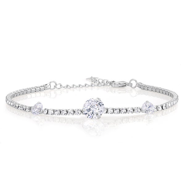 Rhodium-plated Brass Crystal Tennis Bracelet