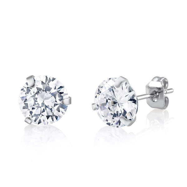 Rhodium-plated Brass 8mm Crystal Stud Earrings