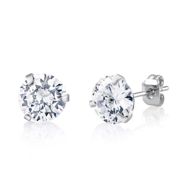 Rhodium-plated Brass 8mm Crystal Stud Earrings