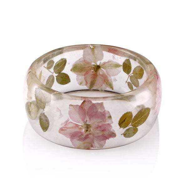 Genuine Rose Flowers 26mm Acrylic Bangle