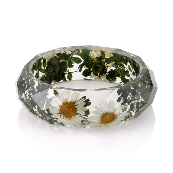 Brass Genuine Daisy Flowers 26mm Acrylic Bangle