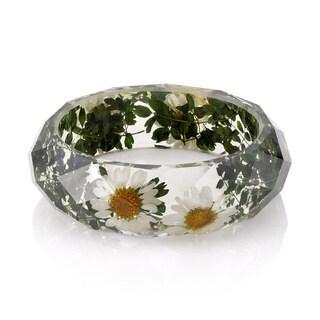 Brass Genuine Daisy Flowers 26mm Acrylic Bangle