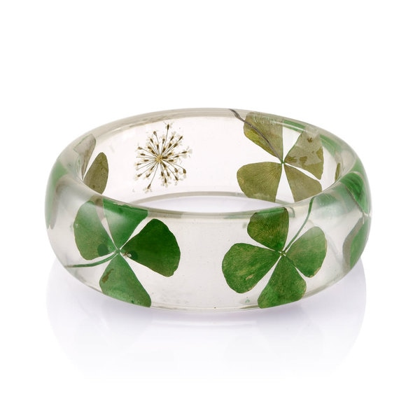 Brass Genuine Clover Leaf 26mm Acrylic Bangle