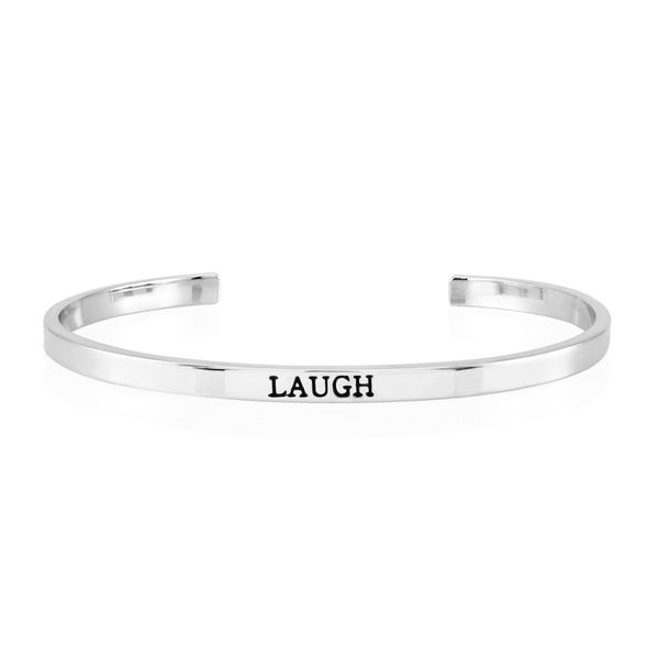 Rhodium-plated Brass 'Laugh' Cuff Bangle
