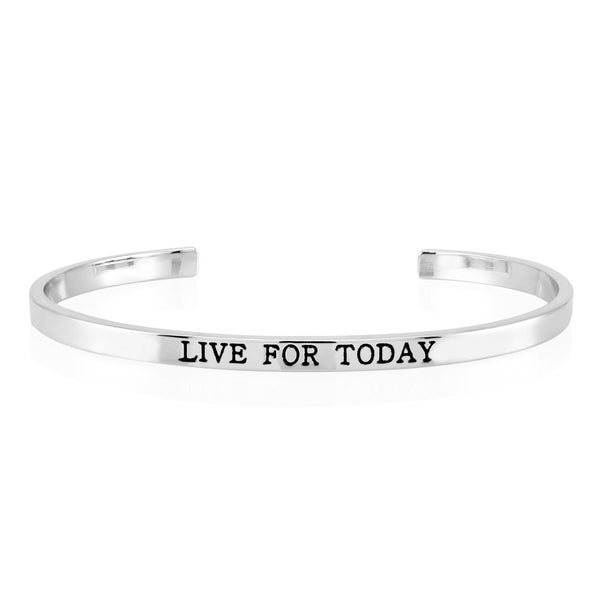 Rhodium-plated Brass 'Live for Today' Cuff Bangle